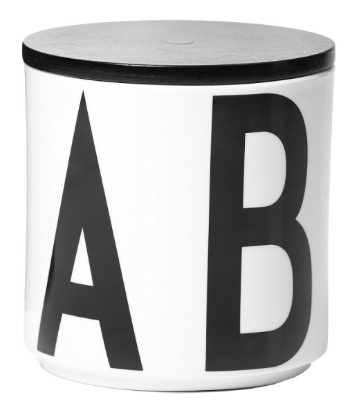 Design Letters - Arne Jacobsen - Multi Jar - Porzellan-Dose - schw. Holzd. - 11,3x11,4 cm (HxØ)