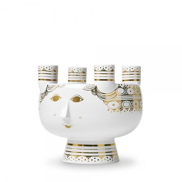 Bjørn Wiinblad - Lucia - Kerzenständer 4 Kerzen - gold - H 15 cm - Keramik