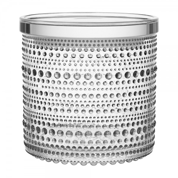 iittala - Kastehelmi - Vorratsbehälter-Glas mit Deckel - 116x114mm - Klar - Des.:Oiva Toikka