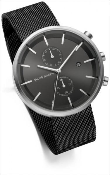 Jacob Jensen - Armbanduhr 626 - Chrono - Ø 43mm - Zifferblatt schwarz - Milanaise Armband - Gl
