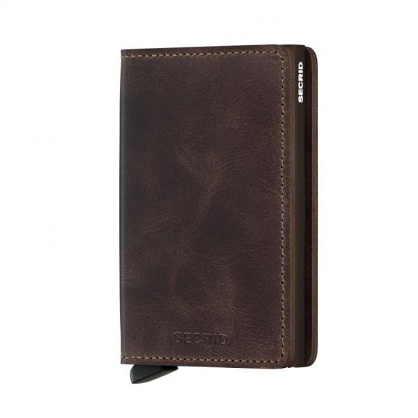 Secrid - Slimwallet - Vintage - Chocolate - Schutz für Magnetkarten, EC-Kreditkarten - Leder, Alumin
