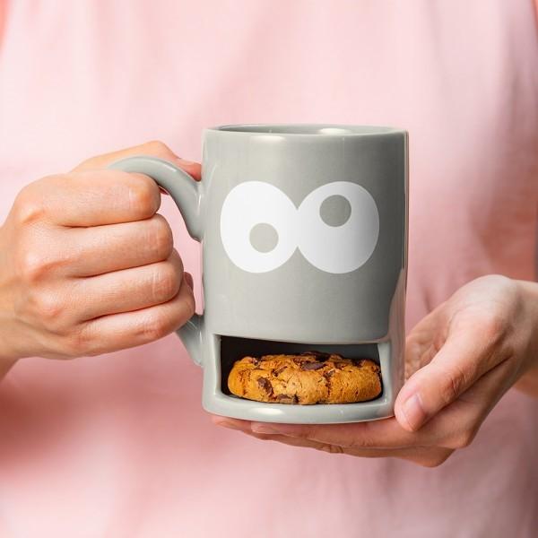 Donkey - Mug Monster - grau - Keks-Becher mit Halterung für Kekse ca. 3 cm - ca. 11,7x13,5cm (BxH) -