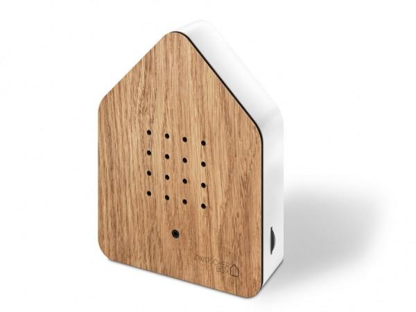 Zwitscherbox - Holz - Eiche, weiss - ca. 110x145x35 mm (BxHxT) - Sound: Birds - Eichenholz,ABS - 3AA