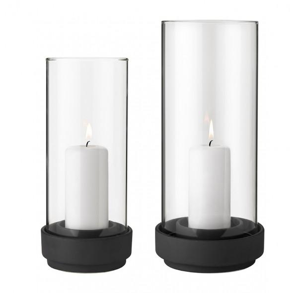 Stelton - Hurricane - Windlicht - mattschwarz - gross - ca. 13,5 x29 cm (ØxH) - Steinzeug,Glas - Des