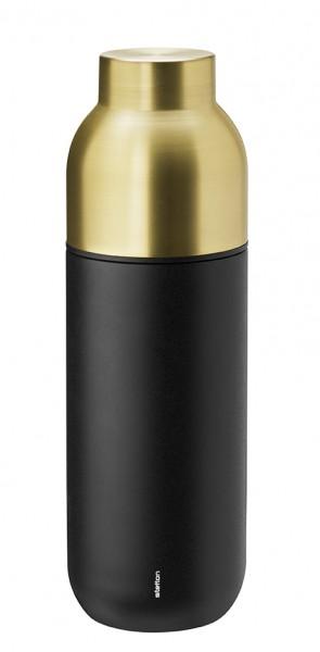 Stelton - Collar - Thermosflasche - 0,75 l - schwarz, messing - ca. 8,1x26 cm (ØxH) - Edelstah