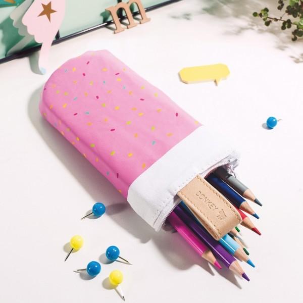 Donkey - Pencil Pops - Strawberry sprinkle - Federmäppchen - pink,weiss - in Form eines Eis am