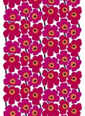 Marimekko -PIENI UNIKKO 2 - COTTON FABRIC - Baumwolle Rollen-Stoff - weiß-rot - 145 x 100 cm