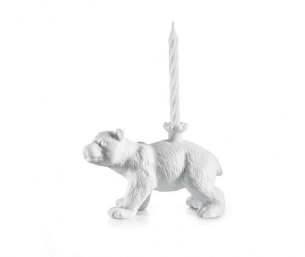 Donkey - Happy Zoo-Day - Knut - Kerzenständer Bär - weiß - Porzelllan - inkl. 4 Kerzen - ca.13x8x6cm