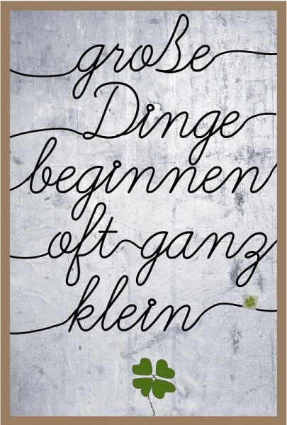 Gof - Drahtkunst Bilder - S - Klee - ca. 20x30 cm - große Dinge beginnen oft ganz klein...