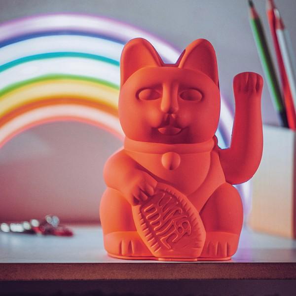 Donkey - Lucky Cat - Winkekatze - neon pink - ca. 8,5x7x15 cm (LxBxH)