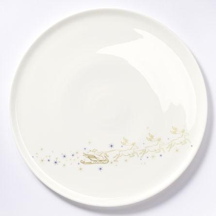 Dibbern - Christmas - Tortenplatte, Kuchenplatte - ca.32 cm (D) - Dekor mit 24 Karat Goldveredelung