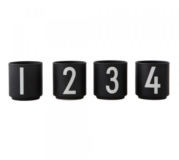 Design Letters - Arne Jacobsen - Espresso Cup/Teelicht - schwarz - 4er Set 1,2,3,4 - 6x5,5cm (HxØ)
