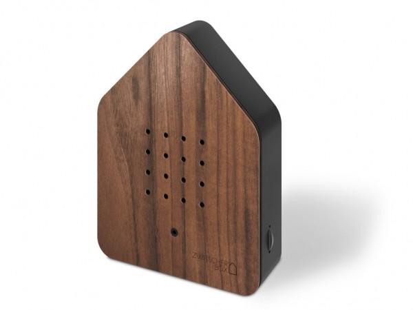 Zwitscherbox - Holz - Nuss, schwarz - ca. 110x145x35 mm (BxHxT) - Sound: Birds - Nussholz,ABS - 3AA