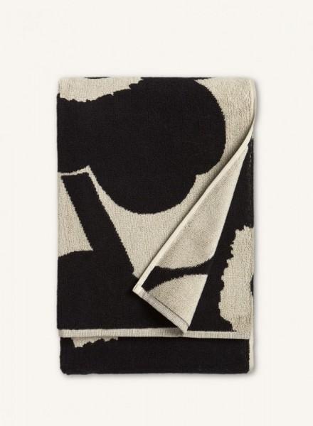 Marimekko - Unikko - Badetuch - Saunatuch - 75x150 cm - schwarz,sand - Bio-Baumwolle - Maija + Krist
