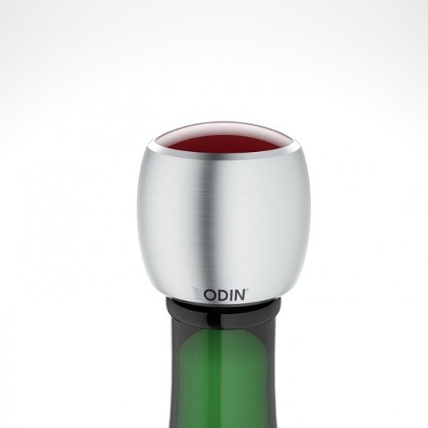 Odin - CHAMPIAN - Sekt-Champagnerverschluss - Edelstahl gebürstet rot