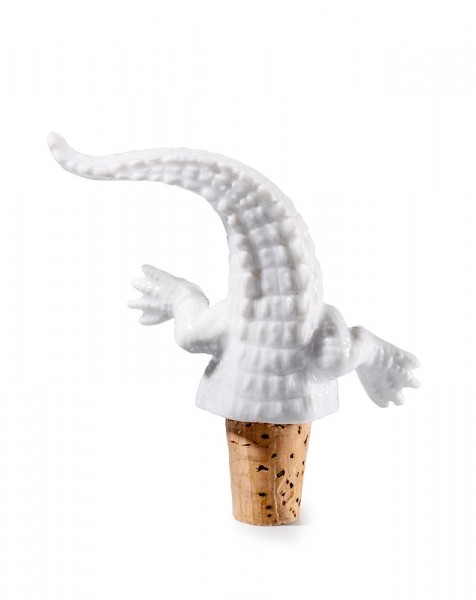 Donkey - Kroko - Weinstopper aus Porzellan und Kork - 12x3,5 cm