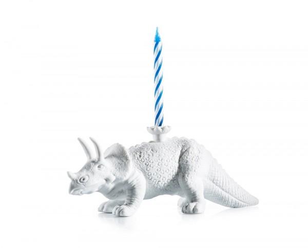 Donkey - Happy Zoo-Day - Dino - Kerzenständer Dinosaurier - weiß - Porzelllan - inkl. 4 Kerzen - ca.