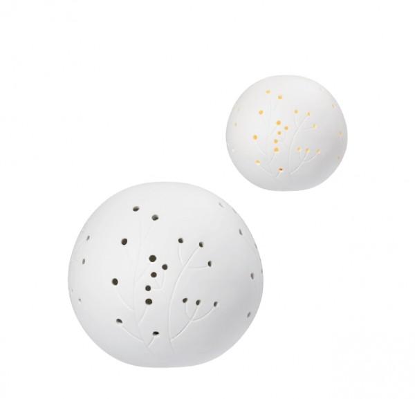 Räder - ZUHAUSE - Poesiel Lichtkugel mit LED - weiß - Pflanze - ca. 13x13x12cm - Porzellan
