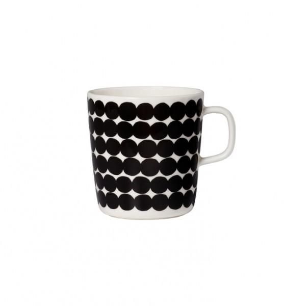 Marimekko - RÄSYMATTO - Oiva - Henkel-Becher - 0,4 l - weiß,schwarz - ca.9,5x10cm (DxH)