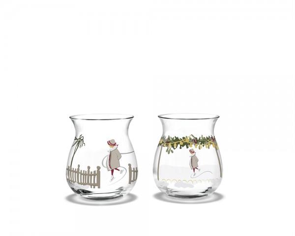 Holmegaard - Christmas Weihnachts-Teelichthalter 2018 - multi - ca. 7,5x6,7 cm (HxD) - 2 Stck. - Jet