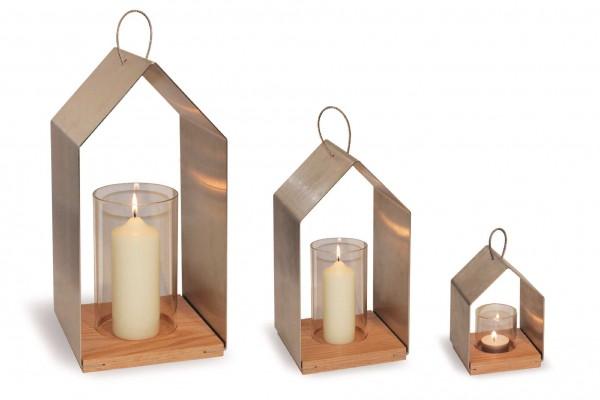 ux Haus - Edelstahl Windlicht in Hausform m. Eichenboden u. Glaszylinder - 16 cm Höhe