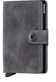 Secrid - Miniwallet Vintage - grau-schwarz - Schutz für Magnetkarten, EC-Kreditkarten - Leder, Alumi