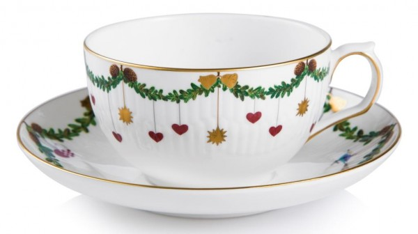 Royal Copenhagen - STAR FLUTED - Ober- und Untertasse Tee + Cappuchino - Bone China Porzellan